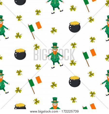 Ireland Saint Patrick vector seamless pattern. Leprechaun in green costume, pot with gold coins and Irish flag tileable background.