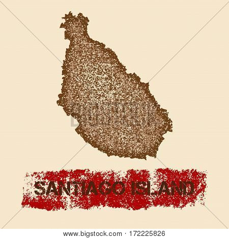 Santiago Island Distressed Map. Grunge Patriotic Poster With Textured Island Ink Stamp And Roller Pa
