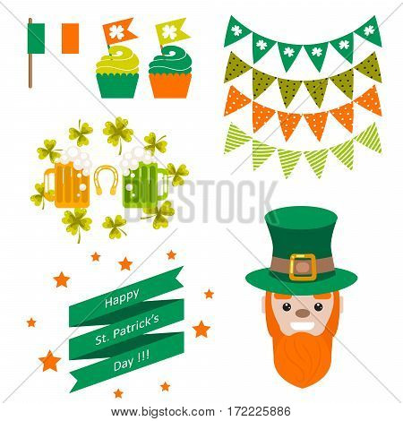 Saint Patricks day party vector objects. Red-bearded leprechaun, hat, buntings, beer, cup cakes and ribbon.