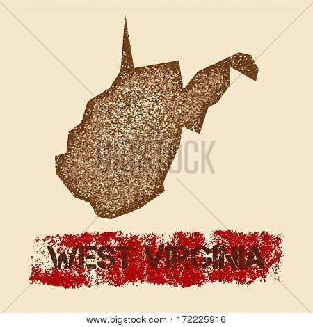 West Virginia Distressed Map. Grunge Patriotic Poster With Textured State Ink Stamp And Roller Paint