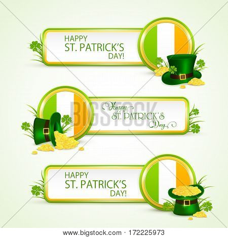 Patricks Day banners in grass on white background with Irish flagб clovers, green hat of leprechaun and golden coins, illustration.