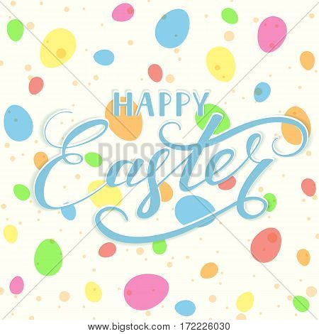 Blue lettering Happy Easter with colorful eggs and spots on white backgroundб illustration.