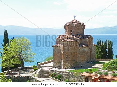The impressive St. John at Kaneo's Church against Lake Ohrid, Republic of Macedonia