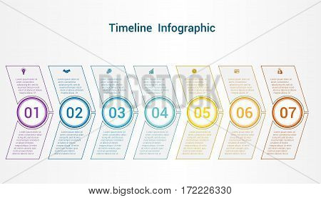 Timeline or area chart diagram data Elements For Template infographics 7 position. Business strategy.