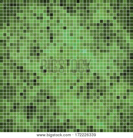 abstract vector square pixel mosaic background - green