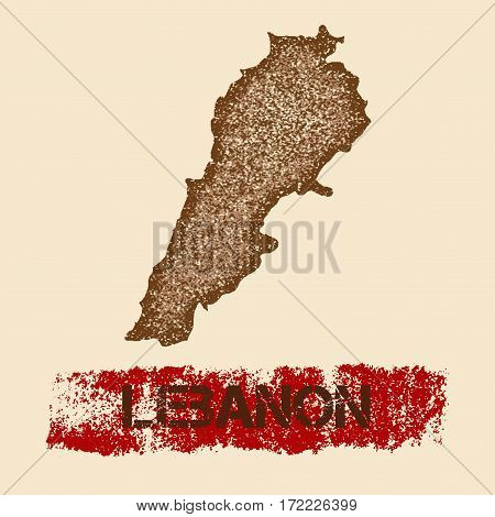 Lebanon Distressed Map. Grunge Patriotic Poster With Textured Country Ink Stamp And Roller Paint Mar