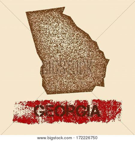 Georgia Distressed Map. Grunge Patriotic Poster With Textured State Ink Stamp And Roller Paint Mark,