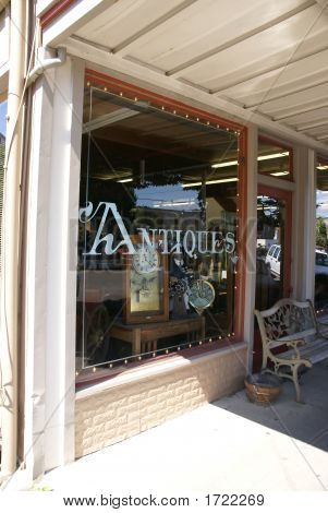 Antique Store Window With Nautical Items