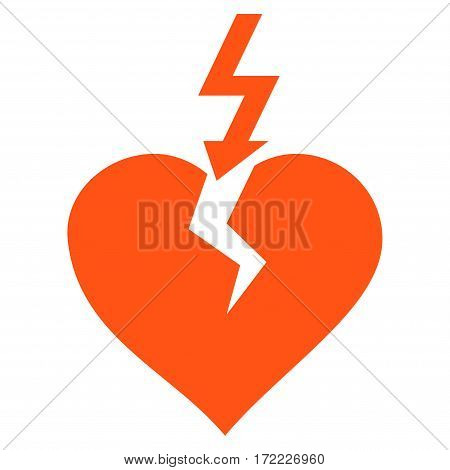 Break Heart flat icon. Vector orange symbol. Pictogram is isolated on a white background. Trendy flat style illustration for web site design logo ads apps user interface.