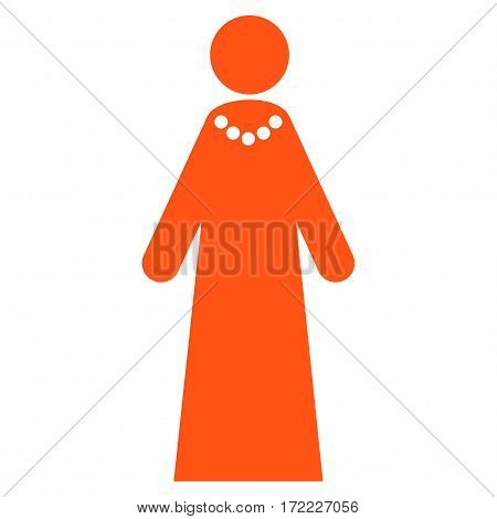 Bride flat icon. Vector orange symbol. Pictograph is isolated on a white background. Trendy flat style illustration for web site design logo ads apps user interface.