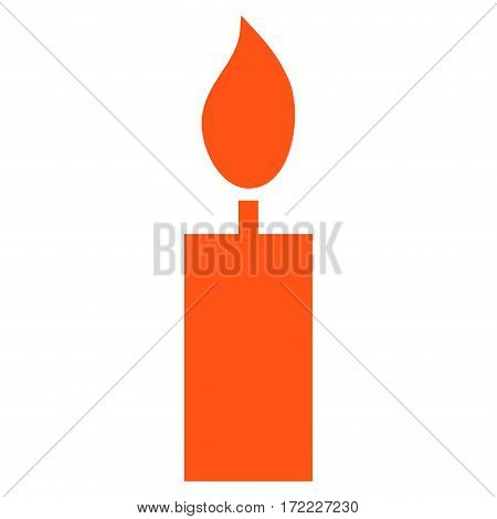 Candle flat icon. Vector orange symbol. Pictogram is isolated on a white background. Trendy flat style illustration for web site design logo ads apps user interface.