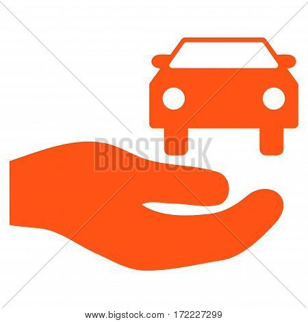 Car Gift Hand flat icon. Vector orange symbol. Pictogram is isolated on a white background. Trendy flat style illustration for web site design logo ads apps user interface.