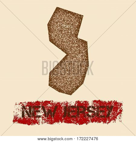 New Jersey Distressed Map. Grunge Patriotic Poster With Textured State Ink Stamp And Roller Paint Ma