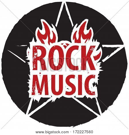 banner for rock music with pentagram on fire
