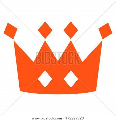 Crown flat icon. Vector orange symbol. Pictograph is isolated on a white background. Trendy flat style illustration for web site design logo ads apps user interface.