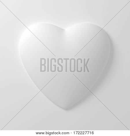 White Heart Shape On White Background. 3D Illustration.