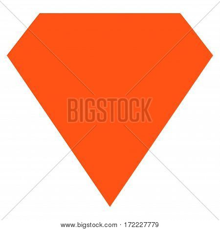 Diamond flat icon. Vector orange symbol. Pictogram is isolated on a white background. Trendy flat style illustration for web site design logo ads apps user interface.