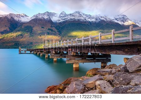 Landscape View Of Glenorchy Wharf Pier, New Zealand