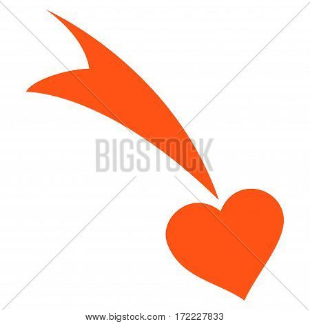 Falling Heart flat icon. Vector orange symbol. Pictograph is isolated on a white background. Trendy flat style illustration for web site design logo ads apps user interface.