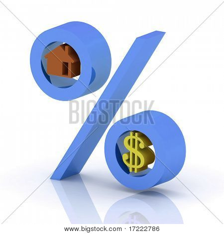 percent with the icons of dollar and house