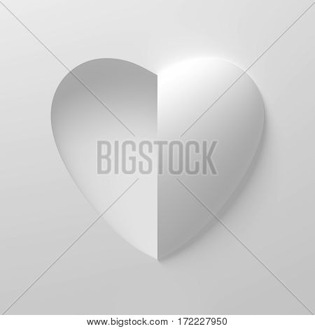 Concept Of White Heart Shape On White Background. One Side Is Concave And The Other Side Is Convex. 3D Illustration.