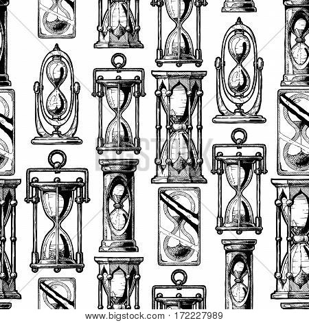 Seamless vector pattern with different hourglass in old fashioned etched style on white background.