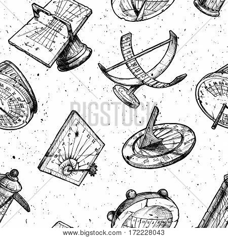 Seamless vector pattern with different sundials in old fashioned etched style on white background.