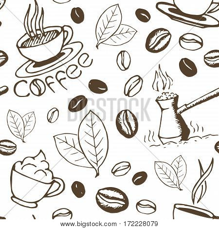 Coffee seamless pattern. Hand drawn repeating background with cups cezve beans and leaves. Sketchy wrapping texture. Vector eps8 illustration.