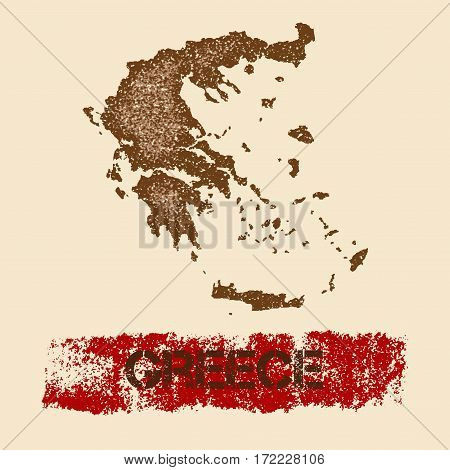 Greece Distressed Map. Grunge Patriotic Poster With Textured Country Ink Stamp And Roller Paint Mark