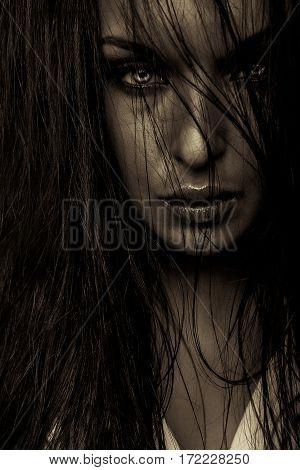 emotion expression dark girl face portrait bright eyes
