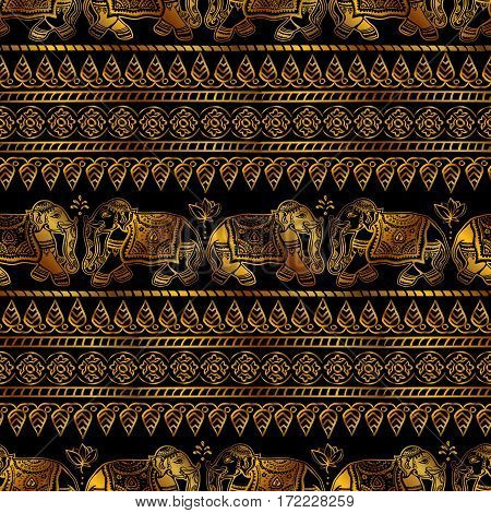 seamless pattern Indian ornamental elephants and tribal ethnic ornaments