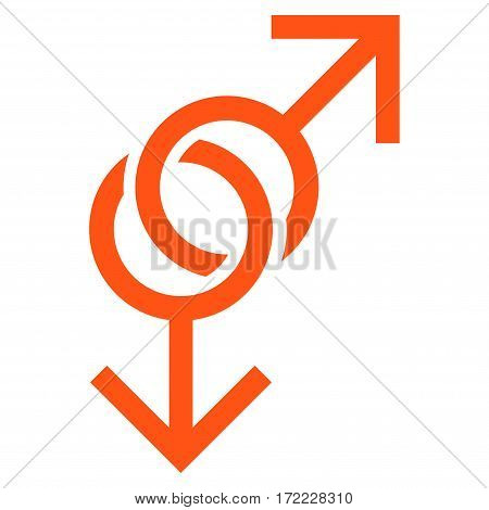 Gay Love Symbol flat icon. Vector orange symbol. Pictograph is isolated on a white background. Trendy flat style illustration for web site design logo ads apps user interface.