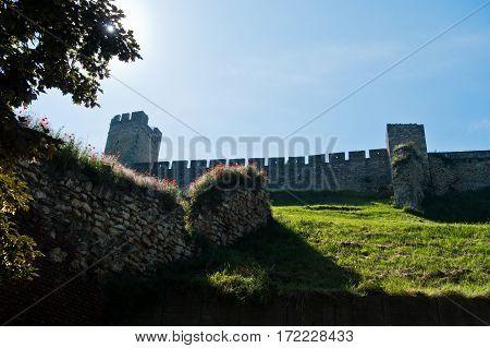 Old ruined wall below Kalemegdan fortress in Belgrade, Serbia