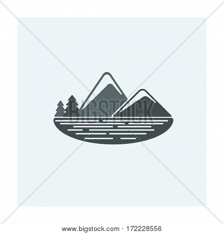Vector modern flat design landscapes with mountains and lake. Illustrations of beautiful forest scenes.