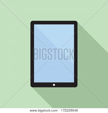 Tablet computer flat icon with blank display. Vector icon of a tablet computer in flat style with empty screen and long shadow. EPS8 clean vector illustration.