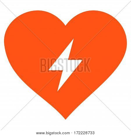 Heart Power flat icon. Vector orange symbol. Pictograph is isolated on a white background. Trendy flat style illustration for web site design logo ads apps user interface.