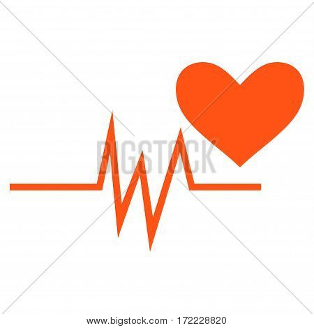 Heart Pulse Signal flat icon. Vector orange symbol. Pictogram is isolated on a white background. Trendy flat style illustration for web site design logo ads apps user interface.
