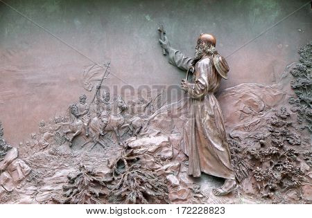 DUBROVNIK, CROATIA - DECEMBER 01: Relief on a monument from 1893 of poet Ivan Gundulic in Dubrovnik, Croatia on December 01, 2015.