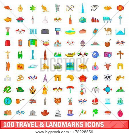100 travel and landmarks icons set in cartoon style for any design vector illustration