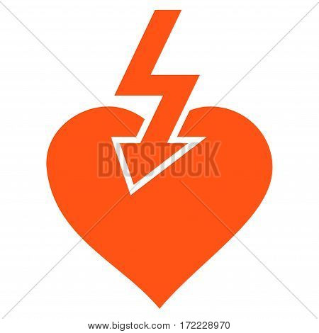 Heart Shock Strike flat icon. Vector orange symbol. Pictograph is isolated on a white background. Trendy flat style illustration for web site design logo ads apps user interface.