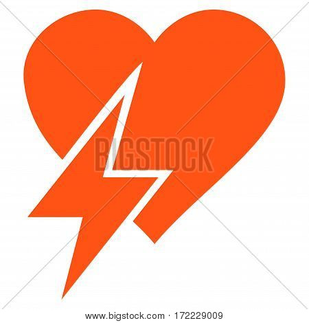 Heart Shock flat icon. Vector orange symbol. Pictograph is isolated on a white background. Trendy flat style illustration for web site design logo ads apps user interface.