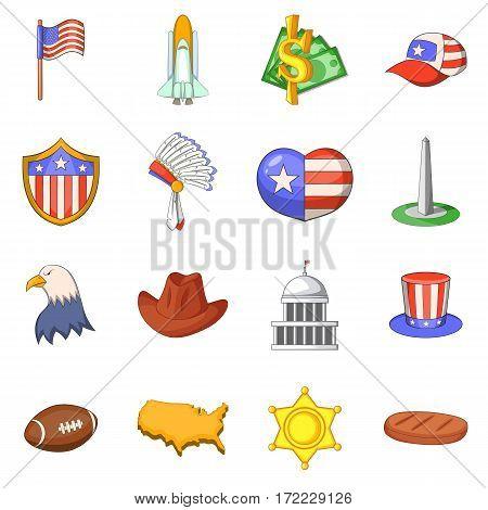 USA travel icons set. Cartoon illustration of 16 USA travel vector icons for web