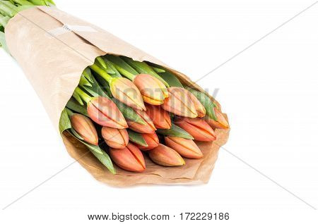 Bouquet of Peach Color Tulips Wrapped in Brown Papers