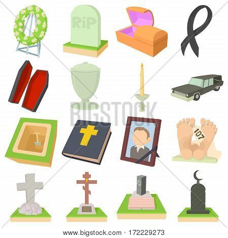 Funeral icons set. Cartoon illustration of 16 funeral vector icons for web