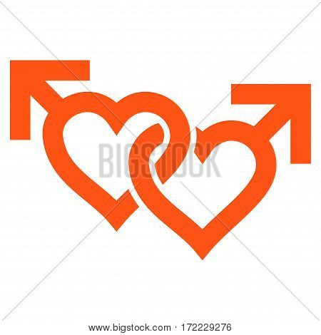 Linked Gay Hearts flat icon. Vector orange symbol. Pictograph is isolated on a white background. Trendy flat style illustration for web site design logo ads apps user interface.