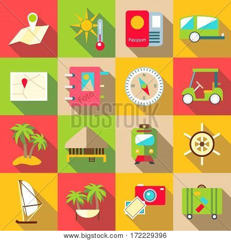 Trip icons set. Flat illustration of 16 trip vector icons for web