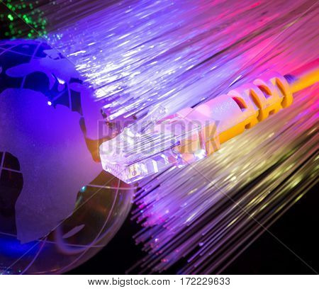 network cable with earth on fiber optic background