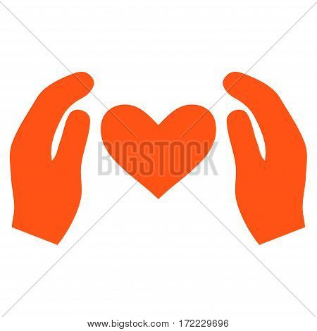 Love Care Hands flat icon. Vector orange symbol. Pictogram is isolated on a white background. Trendy flat style illustration for web site design logo ads apps user interface.