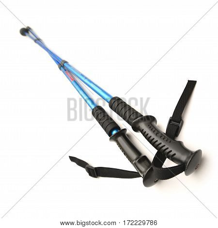 a pair of trekking poles isolated on white.