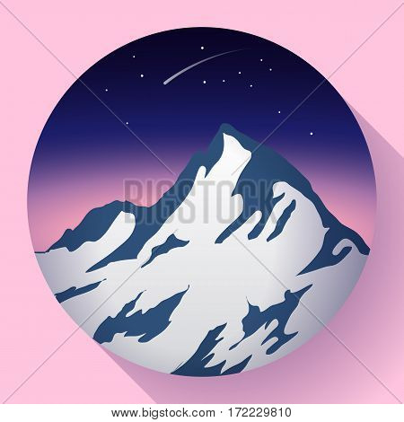 mountain icon peak flat at night and Comet icon